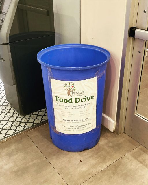 The San Diego Food Bank serves on average 350,000 people PER MONTH with food for those I. Need throughout San Diego & our Vista location is the newest drop-off site! Please bring any canned foods, pastas, grains, cereal, etc that you can! #togetherwearestronger #northcountysd #vista #oceanside #sanmarcos #escondido #carlsbad